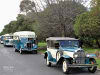 1930 Pontiac in front of 1936 Federal Bus and 1959 Bedford SB3