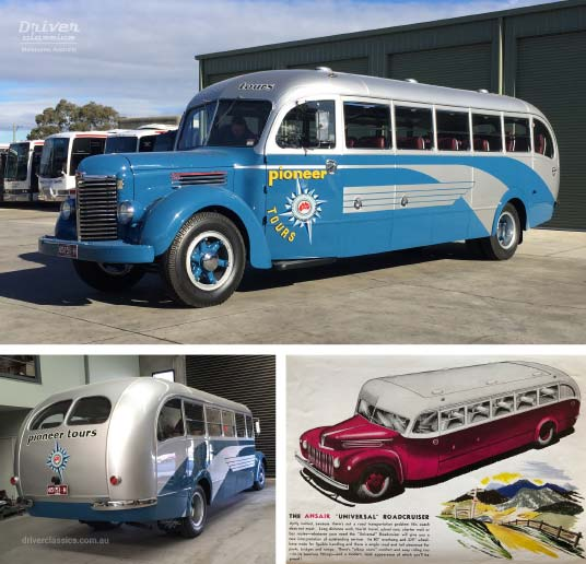 Ansair Road Cruiser / International KB6 Bus, 1946 version, and advertisment