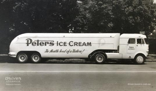 1950s Ansair truck for Peter's Ice Cream with Flxible Clipper styling features, side profile
