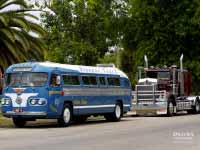 1954 Flxible Clipper bus in front of 1986 Kenworth W92 truck