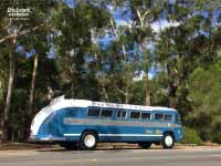Flxible Clipper bus side and back, 1954 version, at Halls Gap, Grampians VIC, March 2018