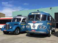 1954 Flxible Clipper and 1946 International KB6 at Moonee Valley Bus Lines, august 2016