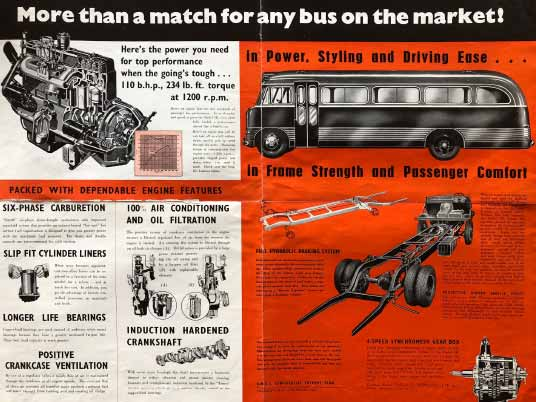 1954 Brochure for GM-H's Bedford SB 'flat screen' bus, inside spread.
