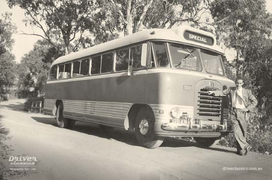 Bedford SB3 bus, flat screen version, with driver Peter Davy
