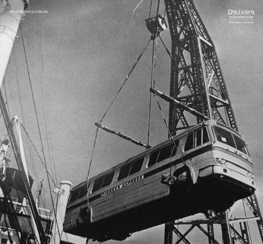 GM PD 4106 bus, early 1960s version, being unloaded at Melbourne Docks