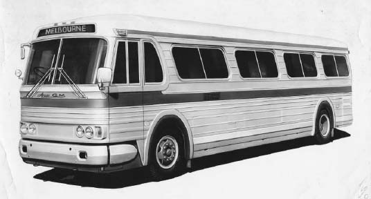 Illustration of the Ansair-GM bus, a potential Australian produced version of the GM PD 4106