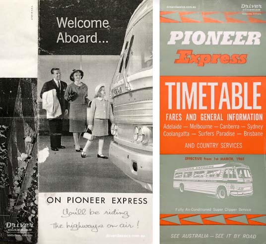 Pioneer advertising, circa early 1960s and Pioneer Express timetable from 1965. Both featuring GM PD 4106 bus.
