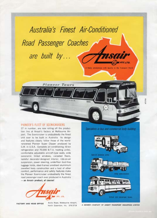 Ansair promotional Flyer, featuring the Ansair Scenicruiser