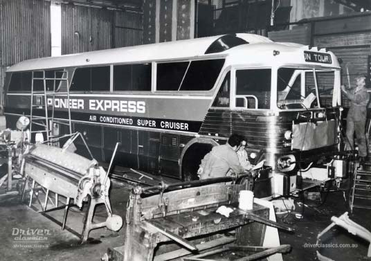 MCI MC7 bus, 1972 version, during LHD to RHD conversion by Ansair, Melbourne, Australia