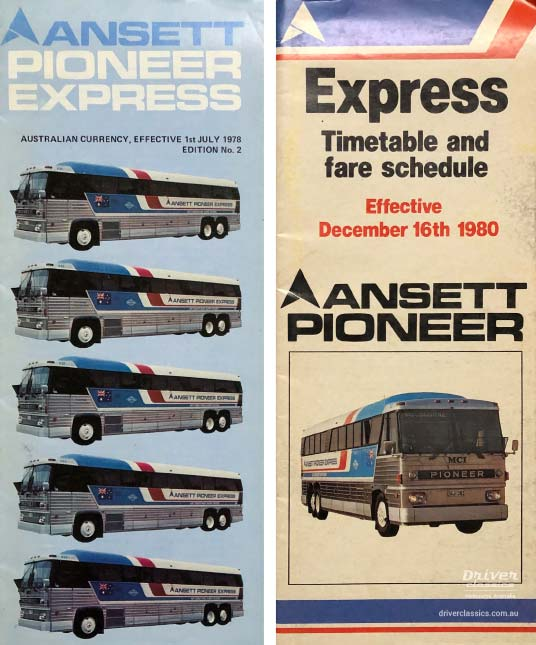 Ansett Pioneer Express timetables from 1978 and 1980 featuring MCI MC8 bus.