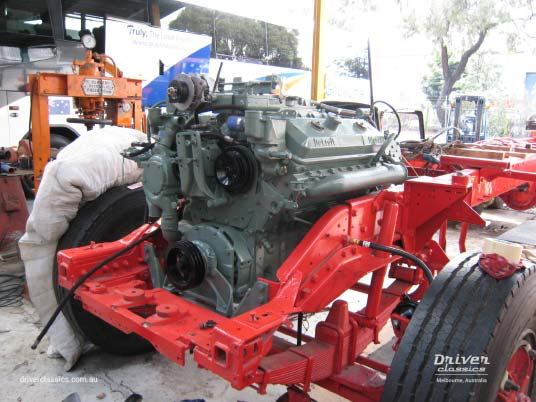 1977 Kenworth W925 engine installation during restoration