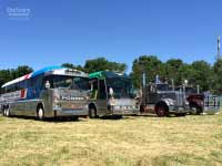 1977 Kenworth W925 truck with 1986 Kenworth W925 truck, 1972 MCI MC7 bus and 1989 Eagle Model 20 bus at Yarra Glen, November 2014