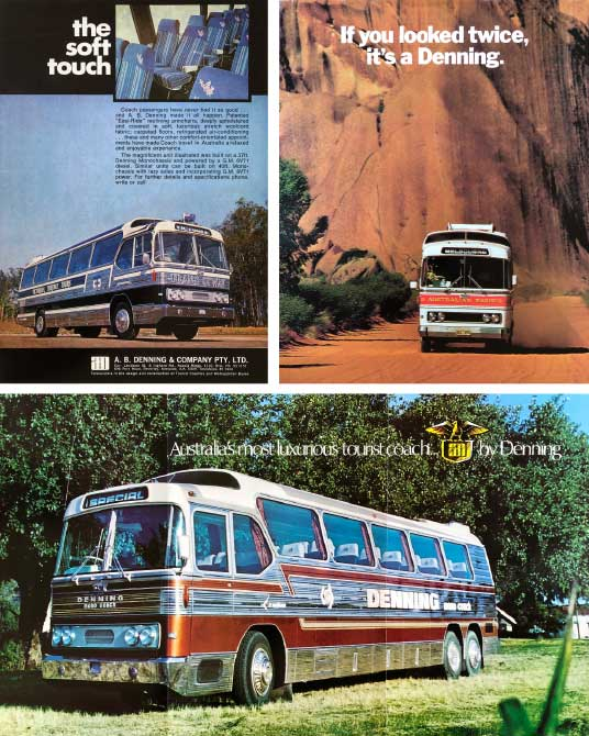 Denning bus brochure and ads from the 1970s