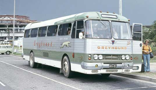 Denning Highway Traveller bus, 1962 version, in Greyhound colours.