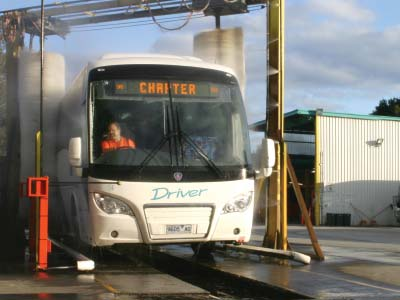 Bus Wash, bus being washed at Driver Bus Lines