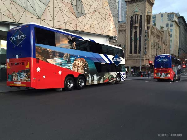 Gray Line double decker coaches at Federation Square, Melbourne