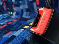 seat belt latch next to seat on Driver Bus Lines coach