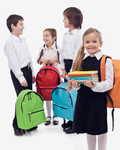 4 school children are ready for school